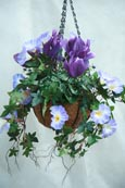 Artificial Hanging Basket  - Purple Surfinia, Ivy, Cyclamen, Million Bells. Inside or Outside Use - Just Hang and Enjoy.