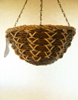 "White Maize with Bamboo Rope 12"" Round Bottom Designer Hanging Basket PAIR OFFER. Postage FREE"