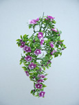 3 x Artificial Plum Shades Double Trailing Busy Lizzie Plants for Hanging Baskets & Pots - made from the same tough and long lasting material as the popular boxwood topiary balls and UV treated for outdoor or indoor use.