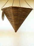 "Light Cream Maize and Bamboo Weave 12"" Square Cone Hanging Basket PAIR OFFER. Postage FREE"