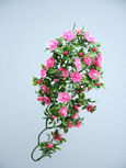 3 x Artificial Pink Shades Double Trailing Busy Lizzie Plants for Hanging Baskets & Pots - made from the same tough and long lasting material as the popular boxwood topiary balls and UV treated for outdoor or indoor use.