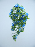 3 x Artificial Blue Double Trailing Busy Lizzie Plants for Hanging Baskets & Pots - made from the same tough and long lasting material as the popular boxwood topiary balls and UV treated for outdoor or indoor use.
